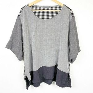 ALEMBIKA lagenlook Gray Top Black and White Check